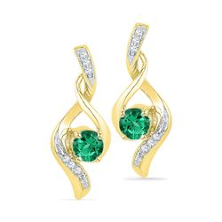 Round Lab-Created Emerald Solitaire Diamond Earrings 1/3 Cttw 10kt Yellow Gold