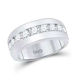 Mens Diamond Single Row Channel-set Band Ring 2.00 Cttw 14kt White Gold