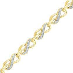 Diamond Infinity Link Fashion Bracelet 1/5 Cttw 10kt Yellow Gold