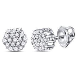 Mens Diamond Hexagon Cluster Earrings 1/4 Cttw 14kt White Gold