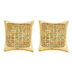 Mens Round Color Enhanced Diamond Square Kite Cluster Earrings 1/10 Cttw 10kt Yellow Gold