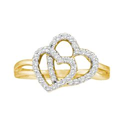 Diamond Double Heart Ring 1/4 Cttw 14kt Yellow Gold