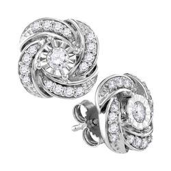 Diamond Pinwheel Stud Earrings 1/3 Cttw 10kt White Gold