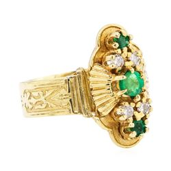 14KT Yellow Gold 0.70 ctw Emerald and Diamond Ring