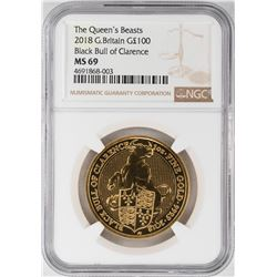 2018 Great Britain The Queens Beasts 100 Pounds Gold Coin NGC MS69