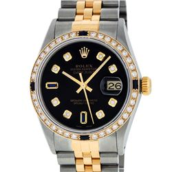 Rolex Mens Two Tone 14K Black Diamond & Sapphire 36MM Datejust Wristwatch