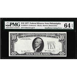 1977 $10 Federal Reserve Note Insufficient Inking ERROR PMG Choice Uncirculated 64EPQ