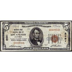 1929 $5 Security First NB of Los Angeles, CA CH# 2491 National Currency Note