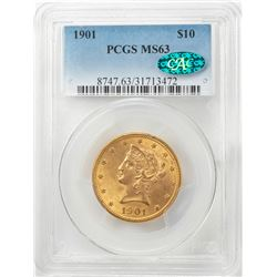 1901 $10 Liberty Head Eagle Gold Coin PCGS MS63 CAC