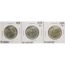 Set of 1939-P/D/S Arkansas Centennial Commemorative Half Dollar Coin