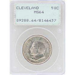 1936 Cleveland Centennial Great Lakes Commemorative Half Dollar Coin PCGS MS64
