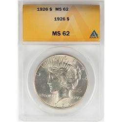 1926 $1 Peace Silver Dollar Coin ANACS MS62
