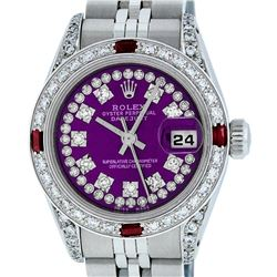 Rolex Ladies Stainless Steel 26MM Purple String Diamond & Ruby Datejust Wristwatch