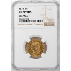 1838 $5 Classic Head Half Eagle Gold Coin NGC AU Details