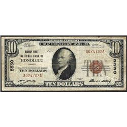 1929 $10 National Currency Note Bishop NB of Honolulu, HI CH# 5550
