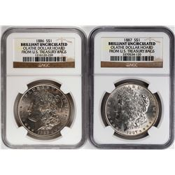 Lot of 1886-1887 $1 Morgan Silver Dollar Coins NGC Brilliant Uncirculated