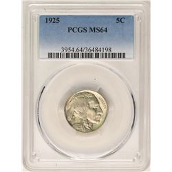 1925 Buffalo Nickel Coin PCGS MS64