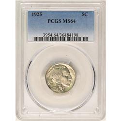 1925 Buffalo Nickel Coin PCGS MS64