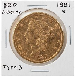 1881-S Liberty Head $20 Double Eagle Gold Coin