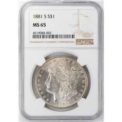 1881-S $1 Morgan Silver Dollar NGC MS65 Nice Toning