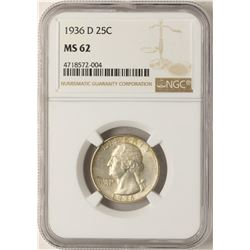 1936-D Washington Quarter Coin NGC MS62