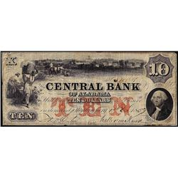 1859 $10 The Central Bank of Alabama Obsolete Note