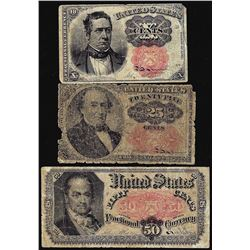 Lot of 1863 Fifth Issue 10/25/50 Cent Fractional Currency Notes