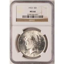 1923 $1 Peace Silver Dollar Coin NGC MS66