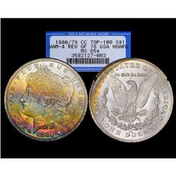 1880/79-CC Rev. of 78 $1 Morgan Silver Dollar Coin GSA NGC MS65 STAR Rainbow Toning