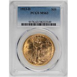 1923-D $20 Saint Gaudens Double Eagle Gold Coin PCGS MS63