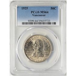 1925 Vancouver Centennial Commemorative Half Dollar Coin PCGS MS64