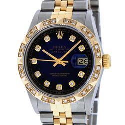 Rolex Mens Two Tone 14K Blue Vignette Pyramid Diamond Datejust Wristwatch