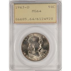 1963-D Franklin Half Dollar Coin PCGS MS64 Old Green Rattler
