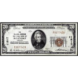 1929 $20 National Bank of Roanoke, VA CH# 11817 National Currency Note