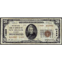 1929 $20 NB of Commerce New Orleans, LA CH# 13689 National Currency Note