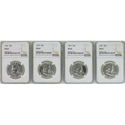 Lot of (4) 1957 Proof Franklin Half Dollar Coins NGC PF67