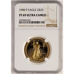 1990 $25 Proof American Gold Eagle Coin NGC PF69 Ultra Cameo
