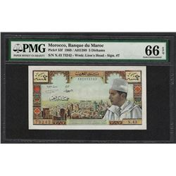 1969 Banque du Maroc Morocco 5 Dirhams Note Pick# 53f PMG Gem Uncirculated 66EPQ