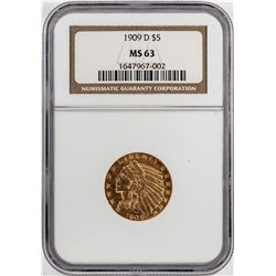 1909-D $5 Indian Half Eagle Gold Coin NGC MS63