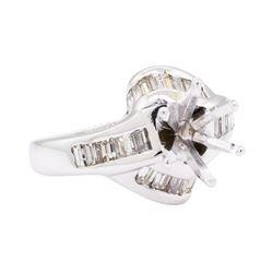 14KT White Gold 0.80 ctw Diamond Round Semi-mount Ring