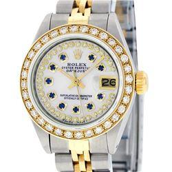 Rolex Ladies Two Tone 14K MOP Sapphire String Diamond Datejust Watch