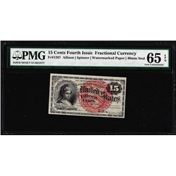 1863 Fifteen Cents Fourth Issue Fractional Note Fr.1267 PMG Gem Uncirculated 65EPQ