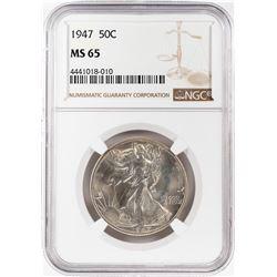 1947 Walking Liberty Half Dollar Coins NGC MS65