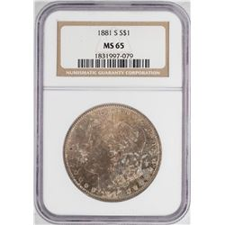 1881-S $1 Morgan Silver Dollar Coin NGC MS65 Nice Toning