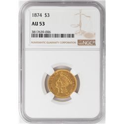 1874 $3 Indian Princess Head Gold Coin NGC AU53