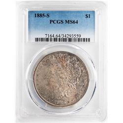 1885-S $1 Morgan Silver Dollar Coin PCGS MS64