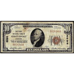 1929 $10 First National Bank of Shreveport, LA CH# 3595 National Currency Note