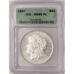 1887 $1 Morgan Silver Dollar Coin ICG MS65PL