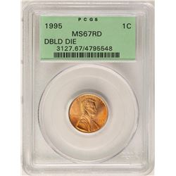 1995 Lincoln Wheat Cent Coin PCGS MS67RD Doubled Die