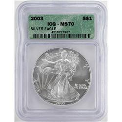 2003 $1 American Silver Eagle Coin ICG MS70